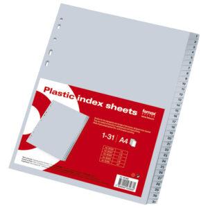 Pregrade za registrator 1/31 PVC SIVE, Fornax