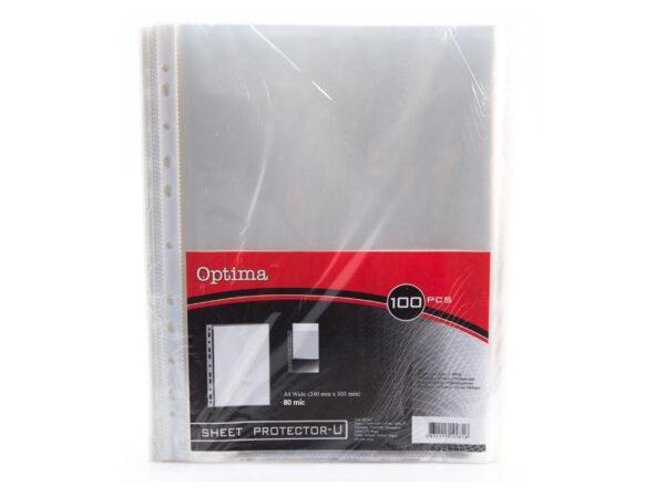 Fascikla U A4 providna jaka XXL -80 mikrona- 1/100, Optima