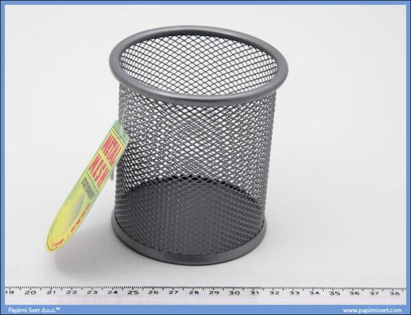 Čaša za olovke mrežasta siva okrugla