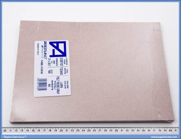 Karton A4 160gr. prljavo roze sivi sa dlačicama 1/50, Fabriano