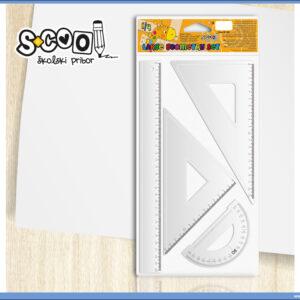 Geometrijski set lenjira i trouglova PVC, S-COOL