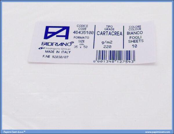 Karton B3 35x50cm beli, Fabriano