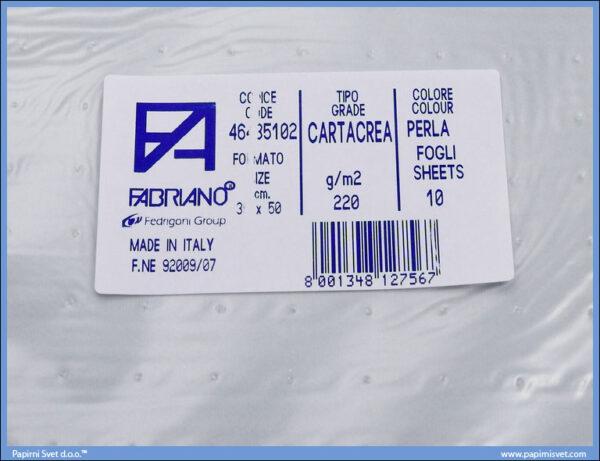 Karton B3 35x50cm sivi perla 1/10, Fabriano