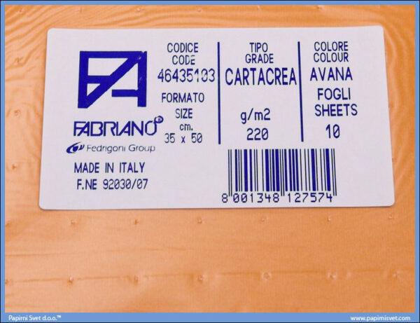 Karton B3 35x50cm ciglasti avana 1/10, Fabriano