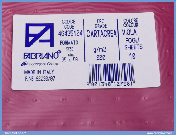 Karton B3 35x50cm ljubičasti 1/10, Fabriano