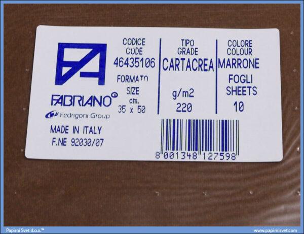 Karton B3 35x50cm braon marrone 1/10, Fabriano