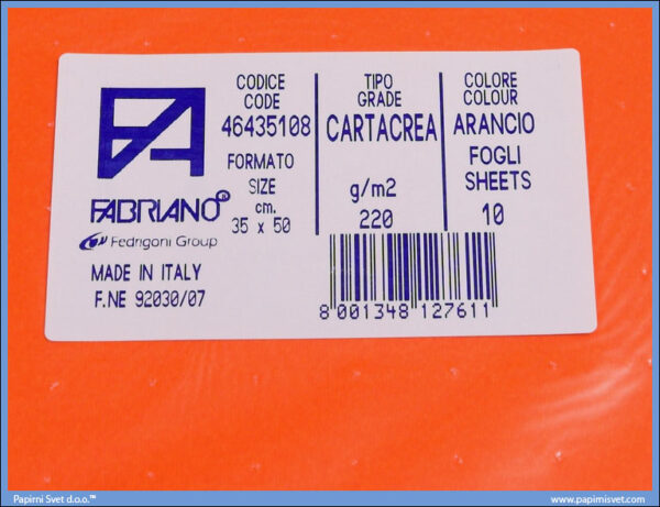 Karton B3 35x50cm narandžasti arancio 1/10, Fabriano