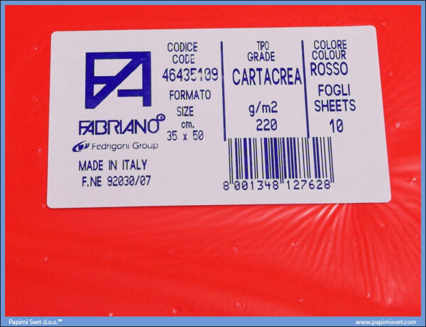 Karton B3 35x50cm crveni rosso 1/10, Fabriano