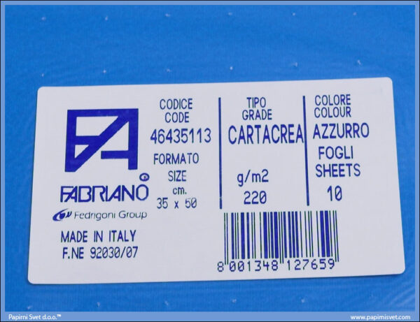 Karton B3 35x50cm plavi azzuro 1/10, Fabriano