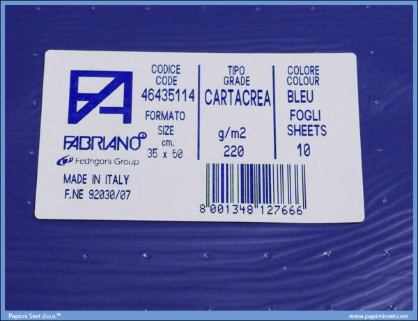 Karton B3 35x50cm teget bleu 1/10, Fabriano