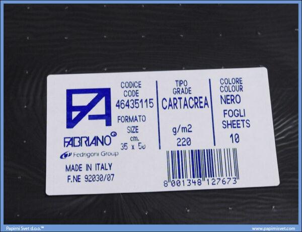 Karton B3 35x50cm crni nero 1/10, Fabriano