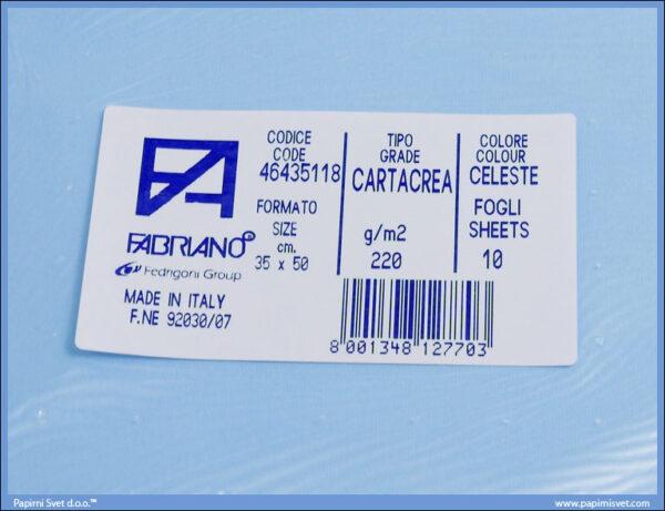 Karton B3 35x50cm svetloplavi celeste 1/10, Fabriano