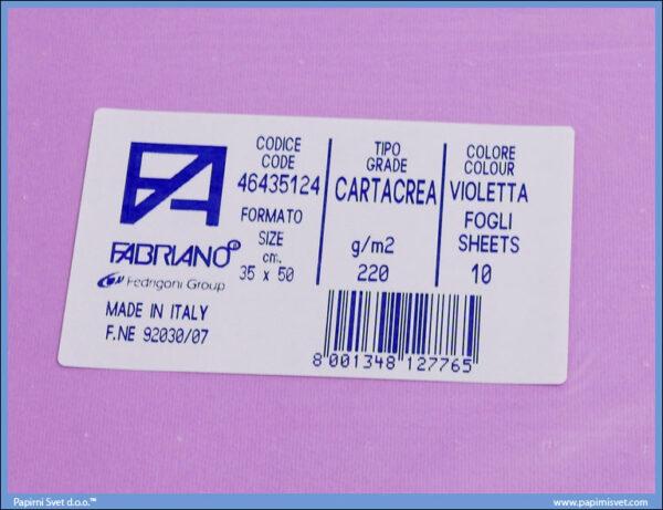 Karton B3 35x50cm svetlo ljubičasti violetta 1/10, Fabriano