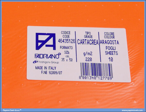 Karton B3 35x50cm crveno-narandžasta aragosta 1/10, Fabriano