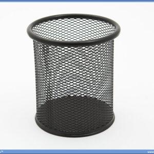 Čaša za olovke žičana mrežasta crna okrugla