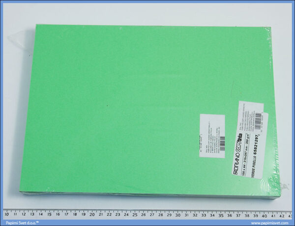 Papir/Karton u boji A4 1/100, 200gr SVETLO ZELENI/VERDE PISELLO, Fabriano