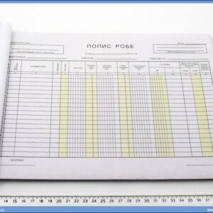Popis robe A4 sa nivelacijom