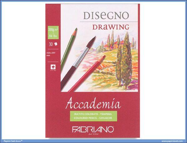 Slikarski blok Disegno Drawing 200gr 210x297mm 1/30, Fabriano