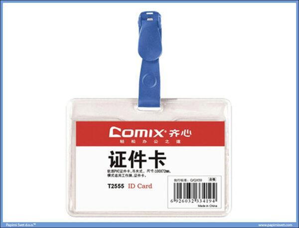 Bedž za ID kartice 99x67 sa plavom štipaljkom Comix
