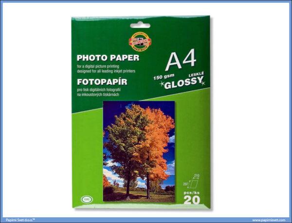Papir za fotografije GLOSSY 150gsm A4 1/20, Koh-I-Noor