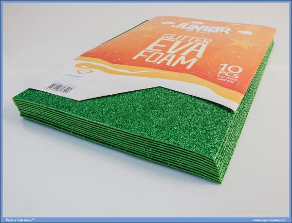 Pena karton A4 EVA GLITTER ZELENI 1/10, Junior