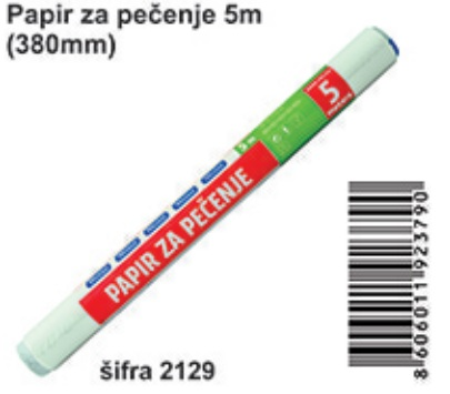 Papir za pečenje beli 380mm/5m, Wetini