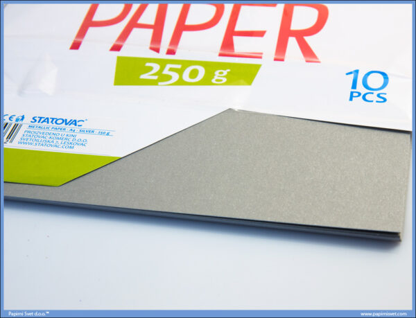Karton papir 250gr METALIK A4 SREBRNI 1/10, Junior