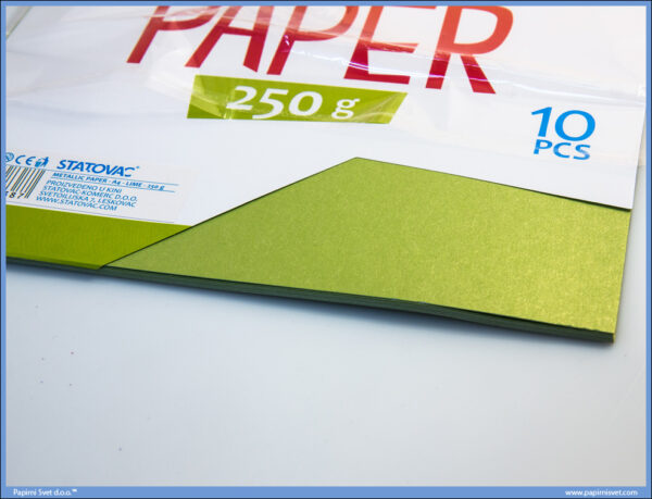 Karton papir 250gr METALIK A4 LIME ZELENI 1/10, Junior