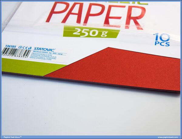 Karton papir 250gr METALIK A4 CRVENI 1/10, Junior