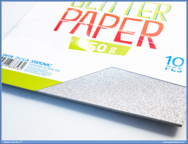 Karton papir GLITER SILVER 250gr SREBRNI 1/10, Junior