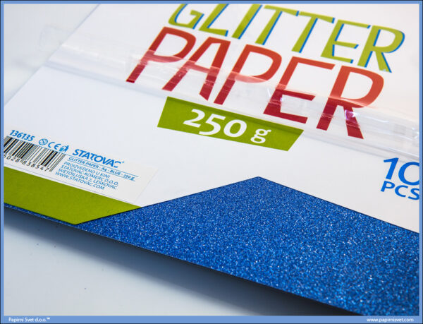 Karton papir GLITER BLUE 250gr PLAVI 1/10, Junior