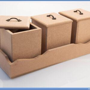 Dekupaž kutije za začine 3 komada sa postoljem 35x13cm