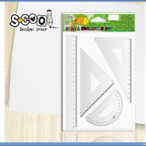 Geometrijski set lenjira i trouglova PVC manji, S-COOL