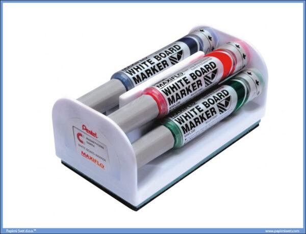 Set markera za belu tablu 1/4 + magnetni sunđer MAXIFLO deblji 6mm, Pentel