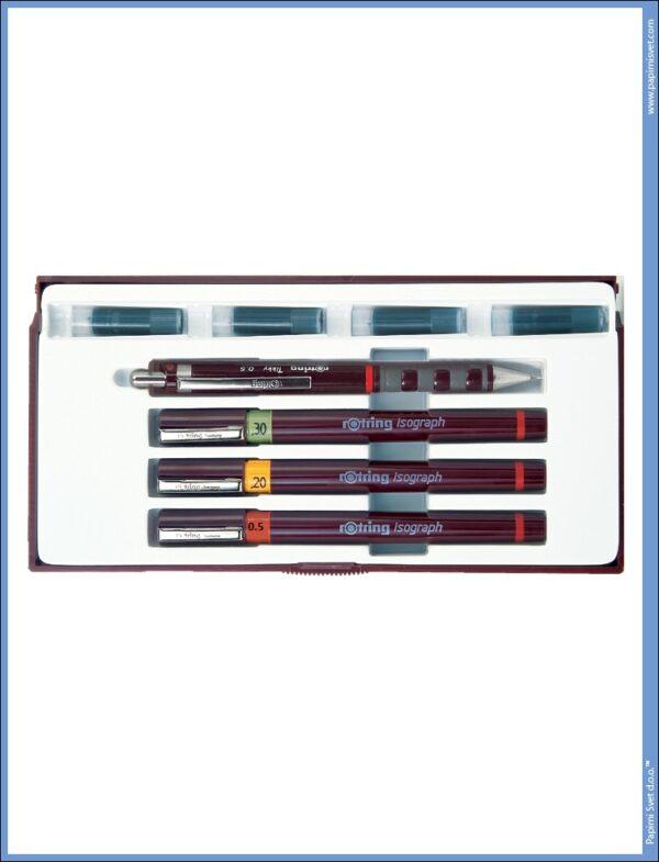 Rapidografi u setu 1/3 JUNIOR II 0.2-0.3-0.5, Rotring