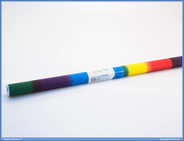 Krep papir 200x50cm RAINBOW DUGINE BOJE, Junior
