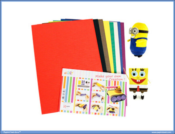 Rebrasti karton papir A4 1/8 jarke boje, Hachiro