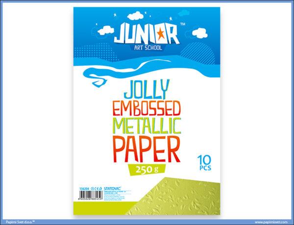 Metalik papir ZELENI reljefni Jolly Embossed 250gr A4 1/10, Junior