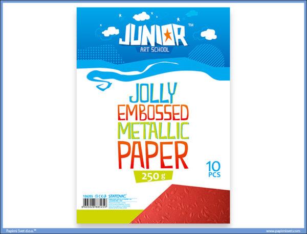 Metalik papir CRVENI reljefni Jolly Embossed 250gr A4 1/10, Junior