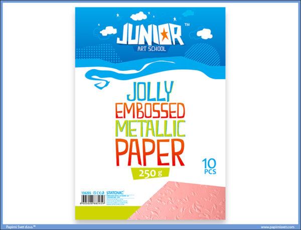 Metalik papir ROZE reljefni Jolly Embossed 250gr A4 1/10, Junior