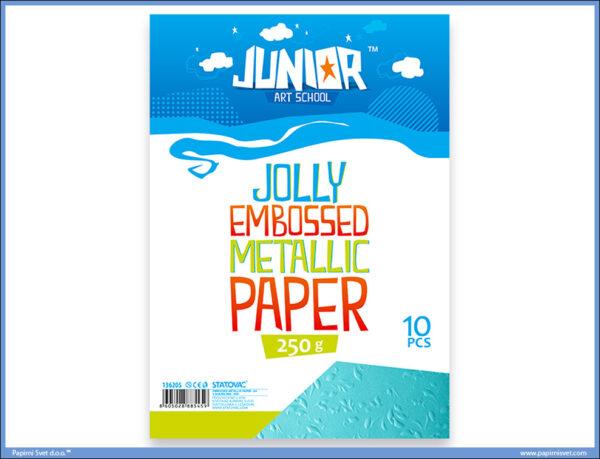 Metalik papir PLAVI reljefni Jolly Embossed 250gr A4 1/10, Junior