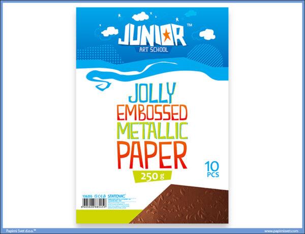 Metalik papir BRAON reljefni Jolly Embossed 250gr A4 1/10, Junior
