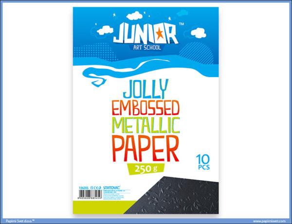Metalik papir CRNI reljefni Jolly Embossed 250gr A4 1/10, Junior