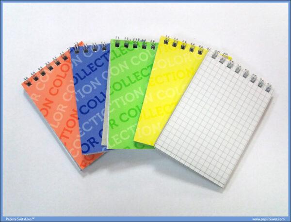 Notes blokčić A6 kvadratići u spirali COLOR COLLECTION