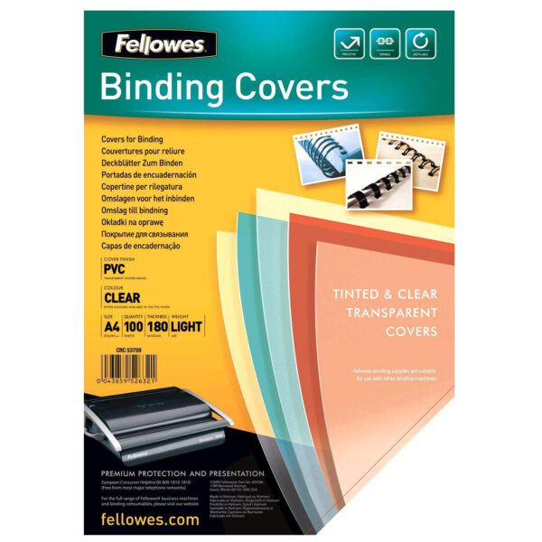 Folija za koričenje 180 mikrona providna 1/100 5375901, Fellowes