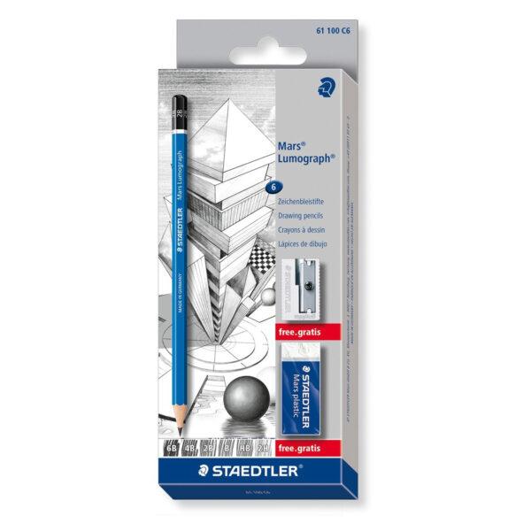 Grafitne olovke MARS LUMOGRAPH set 1/6 Bonus Pack set 100