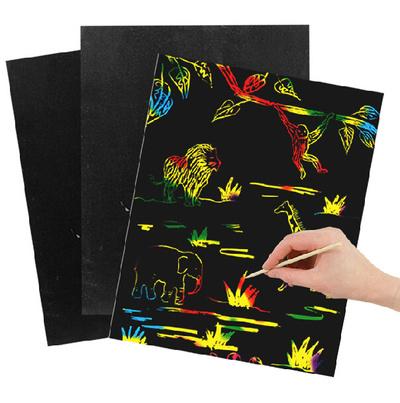 Magični Crni karton za raznobojno crtanje grebanjem A4 1/10
