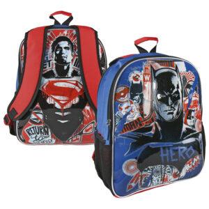 Batman Superman ranac đački; sa dva lica; materijal: 80% poliester, 20% PVC; dimenzija: 31x41x13cm