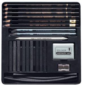 OPIS: Art set za crno-beli crtež. Sadrži najkvalitetnije olovke sa olovom koje su pogodne za tanku ravnu liniju i senčenje. Savršeno za umetnike i crtanje hobija. PARAMETRI PROIZVODA: paket: 24 v SET masa (kg): 0,2900 dubina (mm): 17 širina (mm): 190 visina (mm): 197 Kod: 8898000001PL EAN: 8593539188650