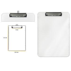 PODMETAČ SA KLIPSOM / SA LENJIROM 240 x 330 mm - Transparentni PP materijal - Metalna klipsa sa jakim zatezanjem - Jaka i čvrsta podloga - Klipsa čvrsto drži papire i dokumenta - Za uredno slaganje svakodnevnih dokumenata Šifra artikla: OF343 Brend: OFFI SHOP